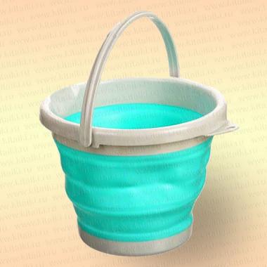 Складное ведро для рыбалки, 5 литров, цвет голубой