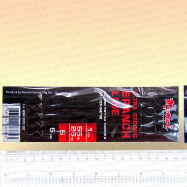Поводки для перемета, Momoi, плетенка, тест 25 кг, длина 1 метр, крючок № 5