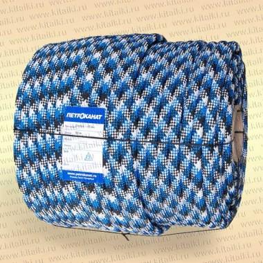 Шнур Аква-Спорт, плетеный, статика, в мотках,  8 мм, 800 кг (20 м) трехцветный