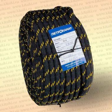 Шнур якорный, плетеный, 6,0 мм, 30 м, черн./зел., в европакете