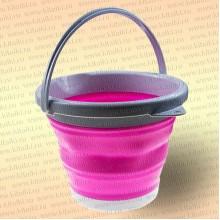 Складное ведро для рыбалки, 5 литров, цвет розовый
