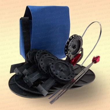 Жерлицы на судака, оснащенные в сумке 5 шт, катушка 90 мм, стойка алюминиевая