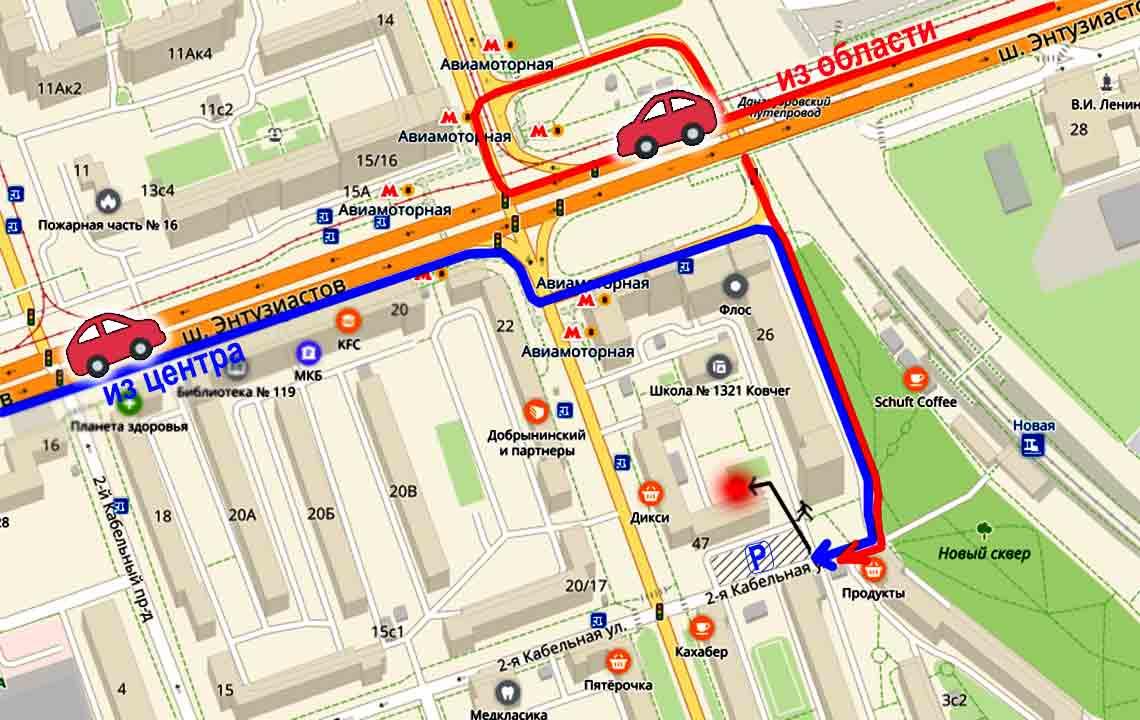 Схема проезда к пункту самовывоза на авто